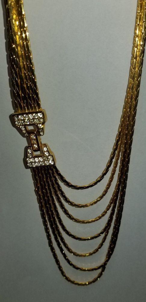 022e41ca5b0f5 Vintage Nolan Miller 7 strand goldtone necklace with pave crystal ...
