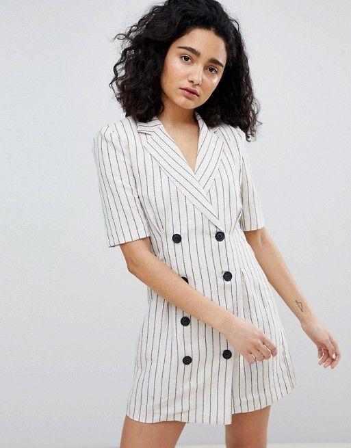 d9672e476218 Bershka stripe blazer dress in cream
