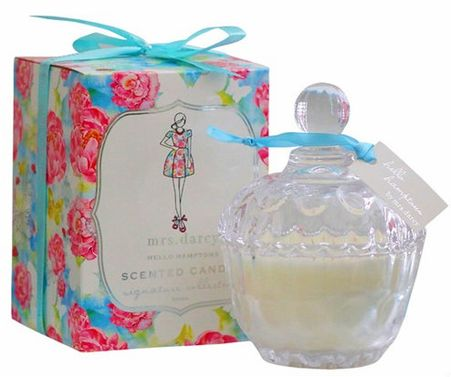For Her: Mrs Darcy Scented Soy Candle Hello Hamptons  #hellohamptons #scentedcandle #freesia #pineapple # peach #cranberry