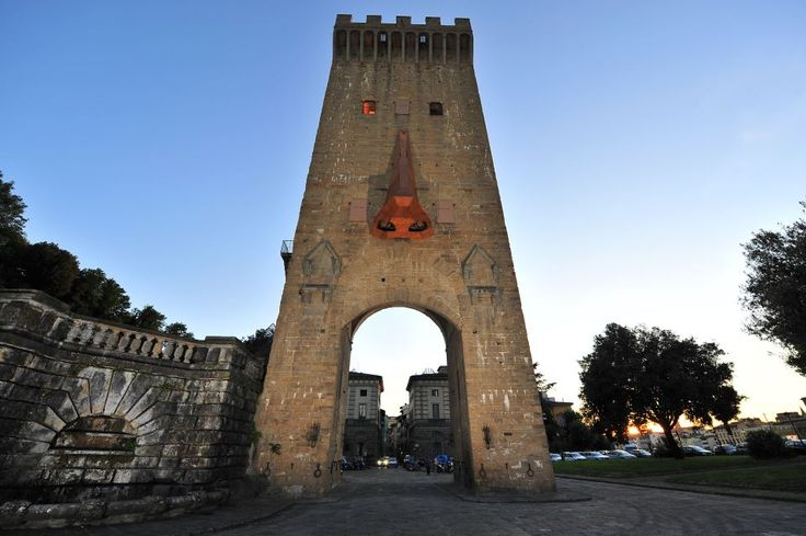 Clet and San Niccolo tower in Florence