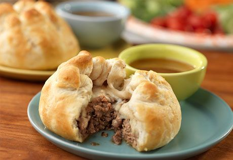 French dip is always a favorite choice, but our version is not only easy, but creative and delicious too! Refrigerated biscuits encase a savory filling of deli roast beef sautéed in a French onion soup mixture and shredded cheese. They're baked until golden and ready for dipping in the reserved French onion soup. Bottom line....they're super tasty!