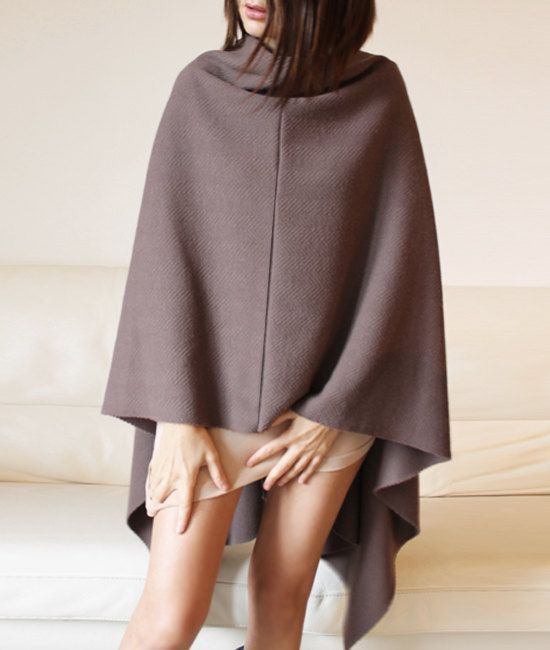 Wool silk poncho christmas gift idea dark by Afycollection on Etsy, $68.00