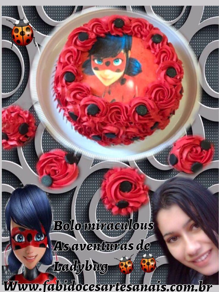 🐞Bolo miraculous as aventuras de 🐞ladybug cupcakes ladybug delícias da Fabi 🐞 Www.fabidocesartesanais.com.br🐞