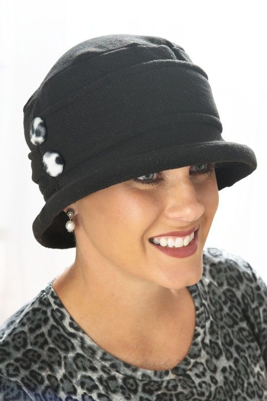 double button fleece cloche hat picture