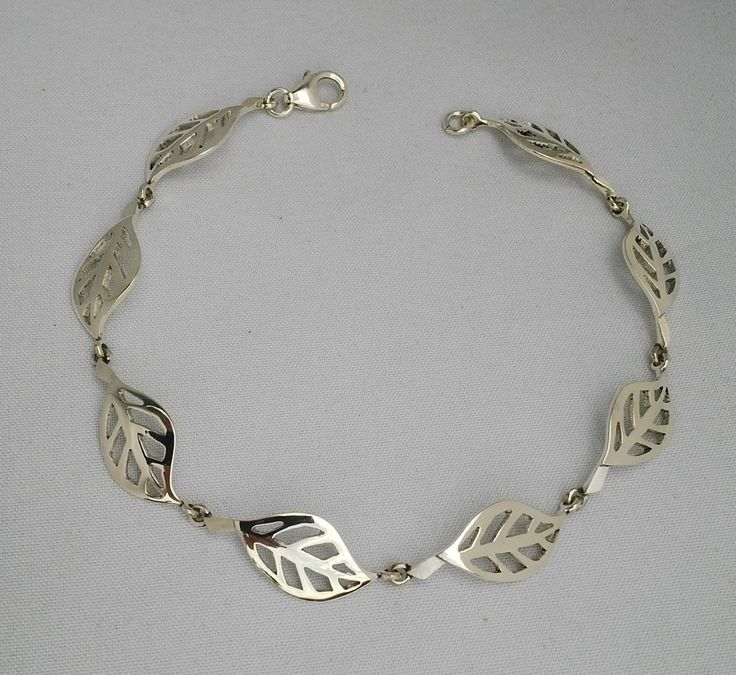 Sterling silver leaf bracelet.