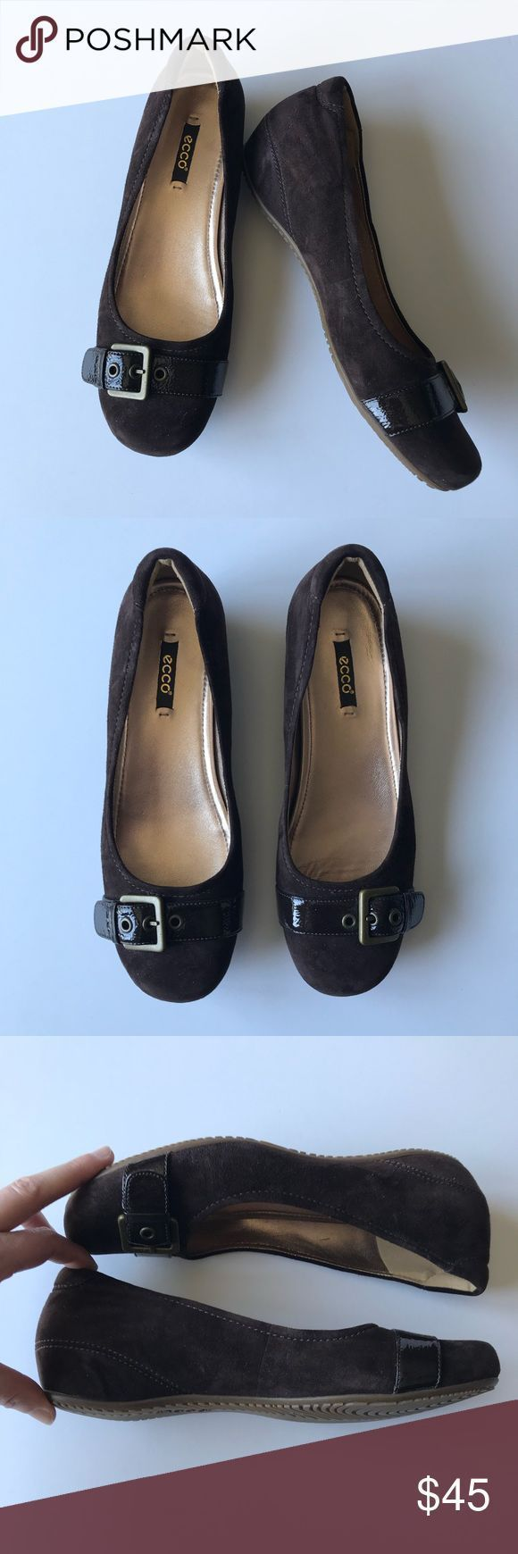 Ecco Brown Suede Buckle Ballet Flat Size 39 Ecco coffee espresso dark brown sued…