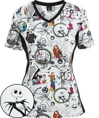 cherokee tooniforms scrubs halloween town print top - Halloween Scrubs Uniforms