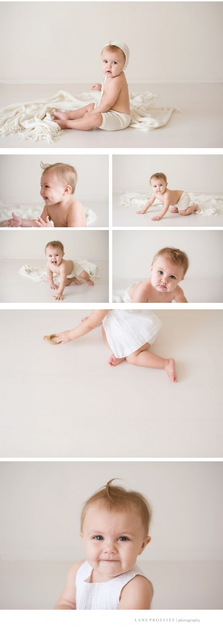 Simple, clean, and natural baby session. White and cream clothing.  Copyright | Fort Worth Baby Photographer | Lane Proffitt Photography