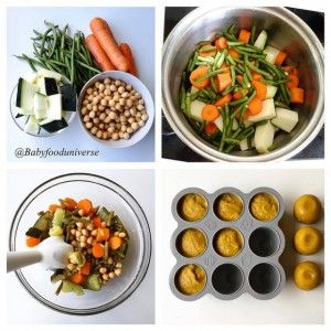 Homemade vegetable baby puree - Vegetable & chickpea purée for weaning babies