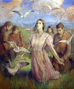 'The Miracle of the Seagulls', by American artist, Minerva Teichert (1888–1976) was notable for her art depicting Western & Mormon subjects.  This painting depicts a scene from Mormon history, when seagulls saved the people's crops in 1848 from hordes of grasshoppers