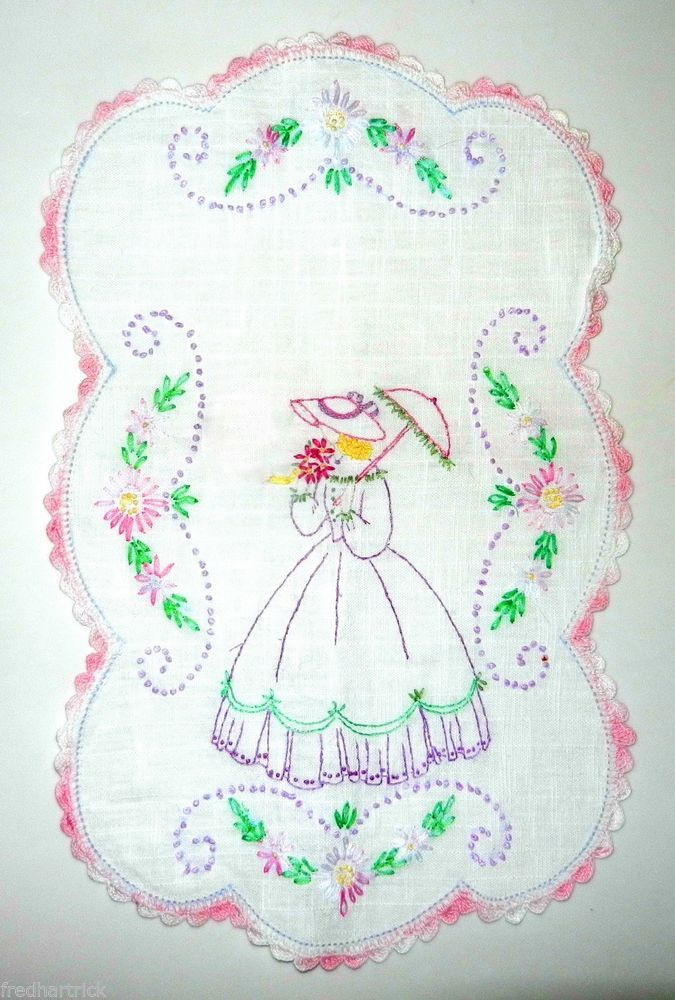 Vintage hand  embroidered CRINOLINE LADY or SOUTHERN BELLE DOILY / SCARF