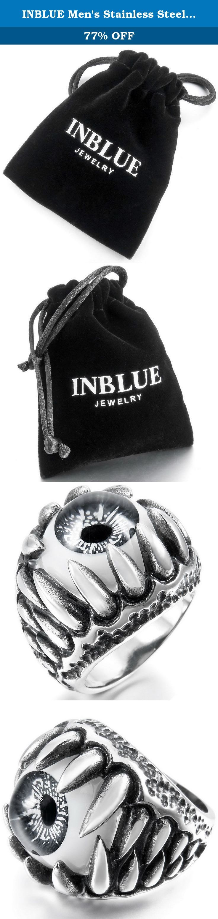 INBLUE Men's Stainless Steel Ring Silver Tone Black Grey White Skull Dragon Claw Evil Devil Eye Size11. INBLUE - High quality Jewelry Discover the INBLUE Collection of jewelry. The selection of high-quality jewelry featured in the INBLUE Collection offers Great values at affordable Price, they mainly made of high quality Stainless Steel, Tungsten, Silver and Leather. Find a special gift for a loved one or a beautiful piece that complements your personal style with jewelry from the INBLUE...