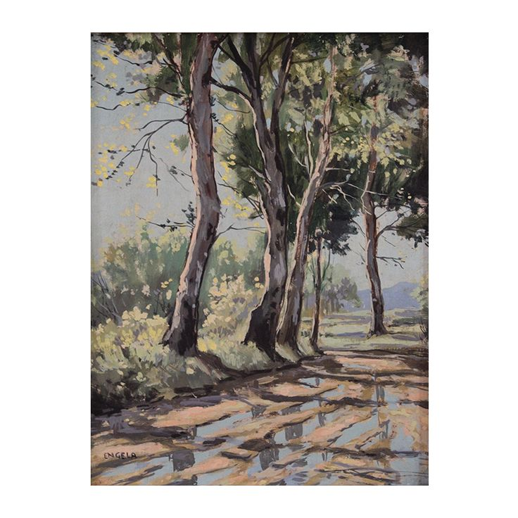 Beautiful oil from one of South Africa's Masters: Johan Engela (born 1915 - xxxx).  He was an internationally acclaimed South African artists, and his paintings are well sought after.   He is considered one of South Africa's Old Masters.  https://www.imagineart.co.za/shop/engela_johan_rain_puddles/