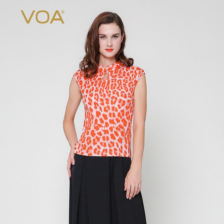 Find More T-Shirts Information about VOA simple pink dots sleeveless knit tees stretch silk stand collar T shirt women B1802,High Quality t-shirt 2012,China t-shirt iron on paper Suppliers, Cheap t-shirts wholesaler from VOA Flagship Shop on Aliexpress.com