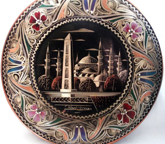 Vintage copper wall hanging plate features Istanbuls Sultanahmet Square with the Blue Mosque, Hippodrome of Constantinople and the Obelisk of