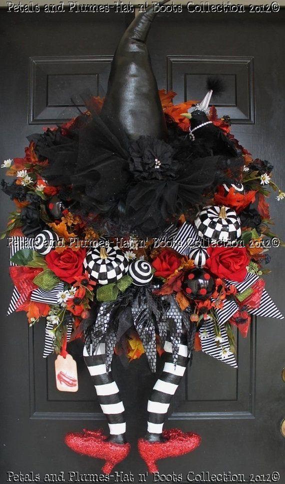 <3Halloween Witches, Halloween Decor, Doors Decor, Front Doors, Ruby Red Slippers, Halloween Wreaths, Halloween Doors, Witches Wreaths, Wicked Witches