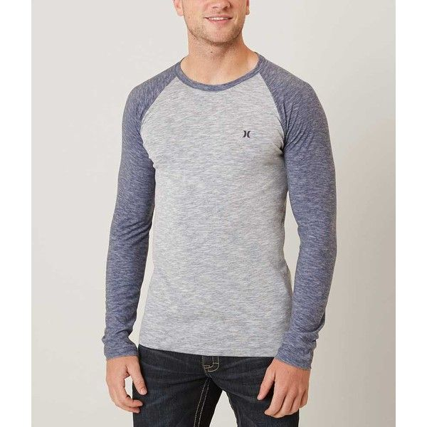 Hurley Basic Dri-FIT T-Shirt - Navy/Blue Small ($33) ❤ liked on Polyvore featuring men's fashion, men's clothing, men's shirts, men's t-shirts, mens blue t shirt, mens raglan sleeve shirts, mens raglan t shirt, old navy mens t shirts and mens raglan shirts