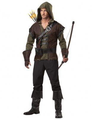 free shipping walson Hot Selling man robin costume jacket+pants belt Mens Robin Hood Prince Fancy Dress Costume size m-2xl