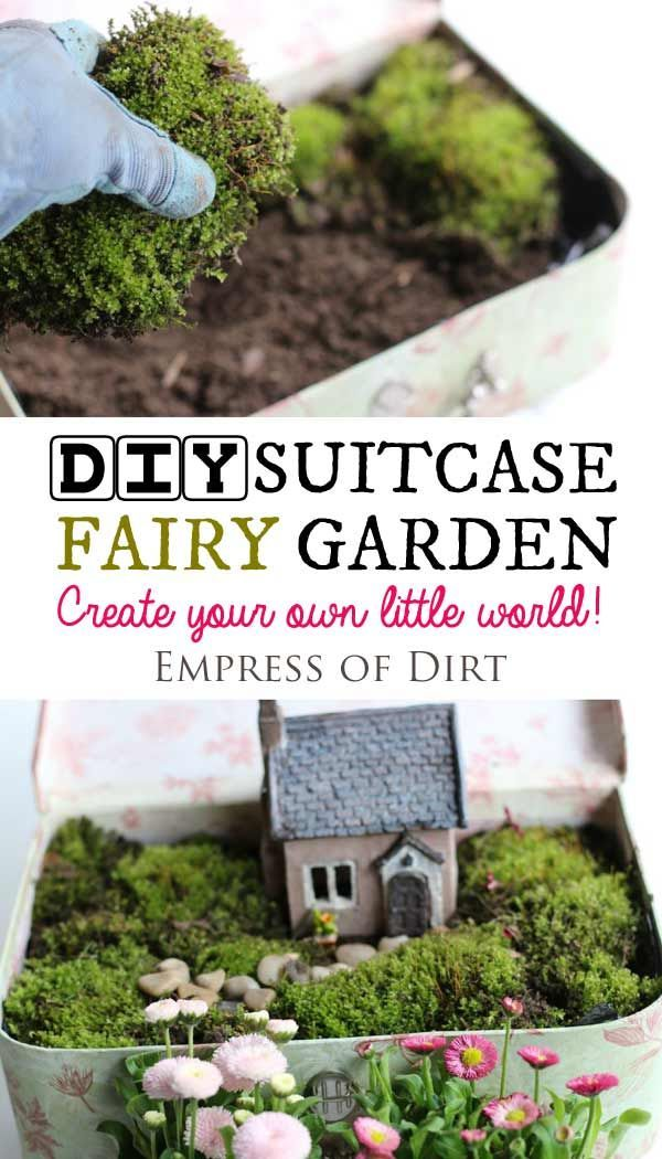 Create a miniature fairy garden in a vintage suitcase. Sweet idea for patio, garden, or inside your home. Kids love it. #fairygarden #miniaturegarden #containergarden #suitcase #weefolk