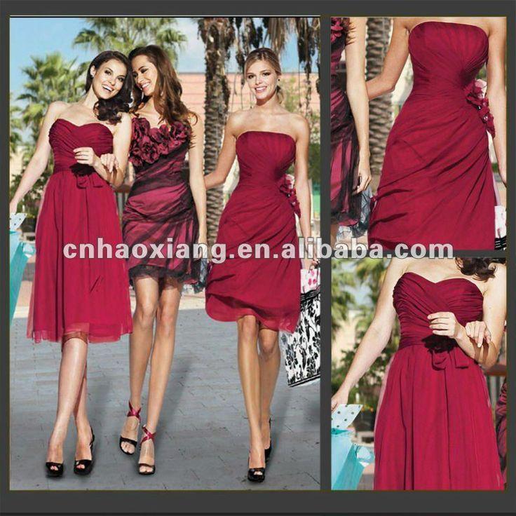western burgundy bridesmaid dresses | Sexy corta chiffon senza spalline bordeaux abiti da damigella d'onore ...