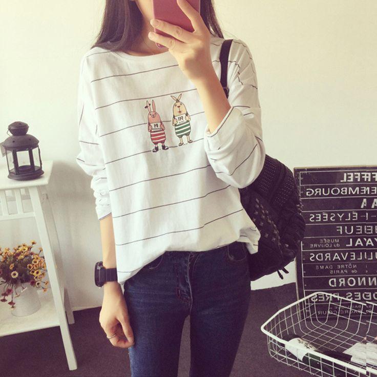 Полосатый с длинным рукавом женская осень и зима внешняя одежда печать мультфильма свободные большие ярдов Женщины корейских студентов кофточки рубашки -tmall.com Lynx