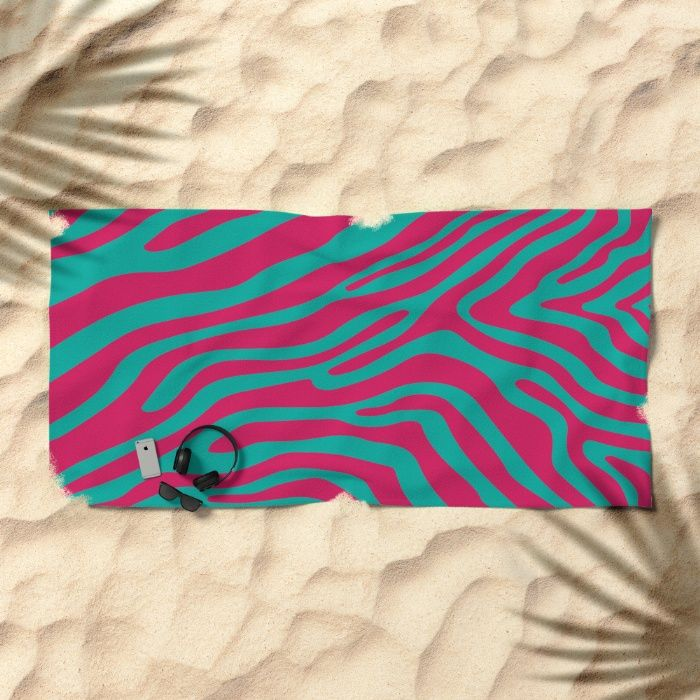 Summer Zebra: Pink Beach Towel by REALITY Studios | Society6