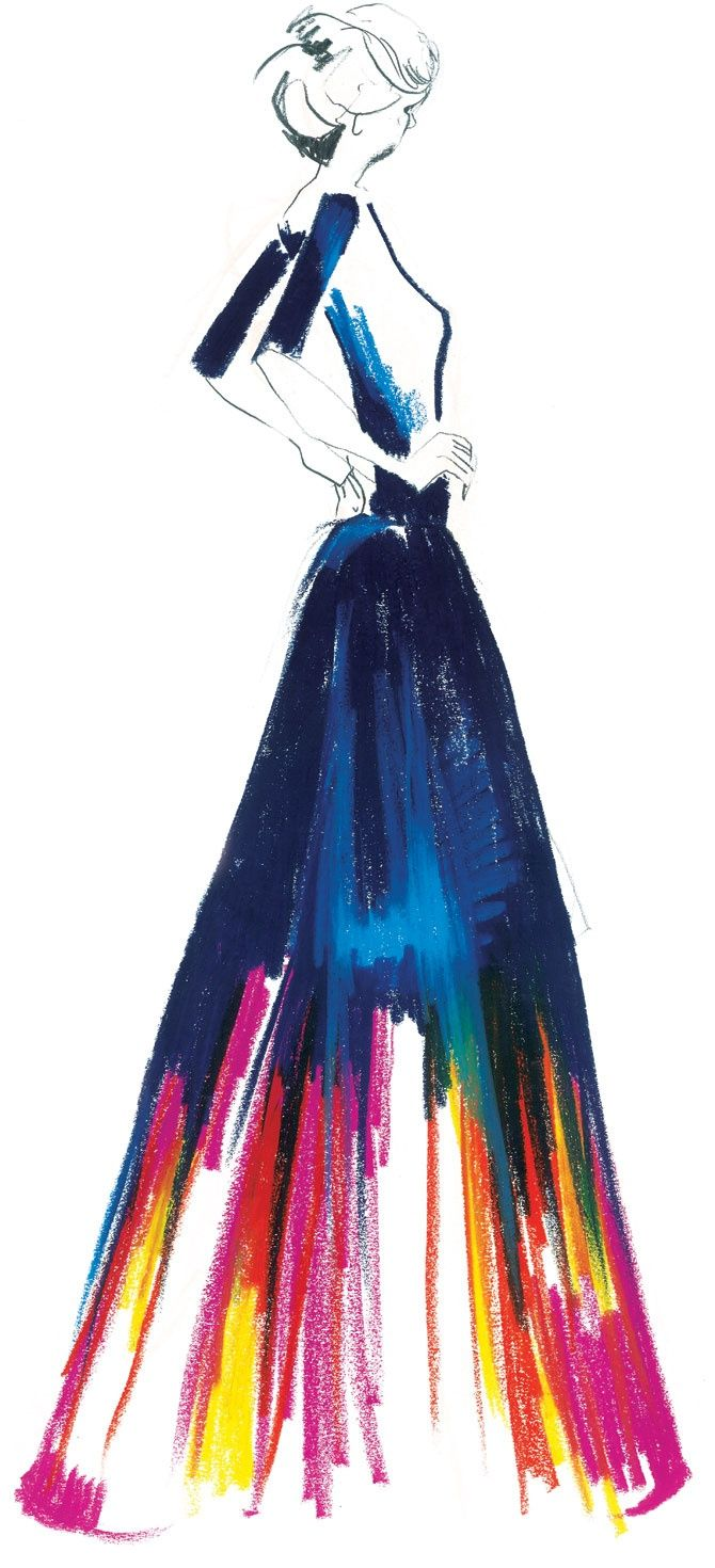 I would use this kind of technique in my designs. I love how all of the colors contrast and make a beautiful dress.