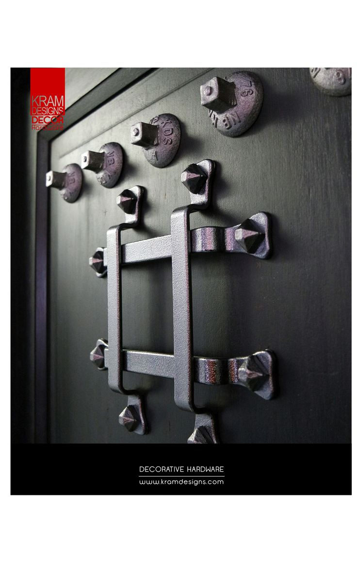 Use Kram Designs Decor Hardware to change the look of your boring front door.