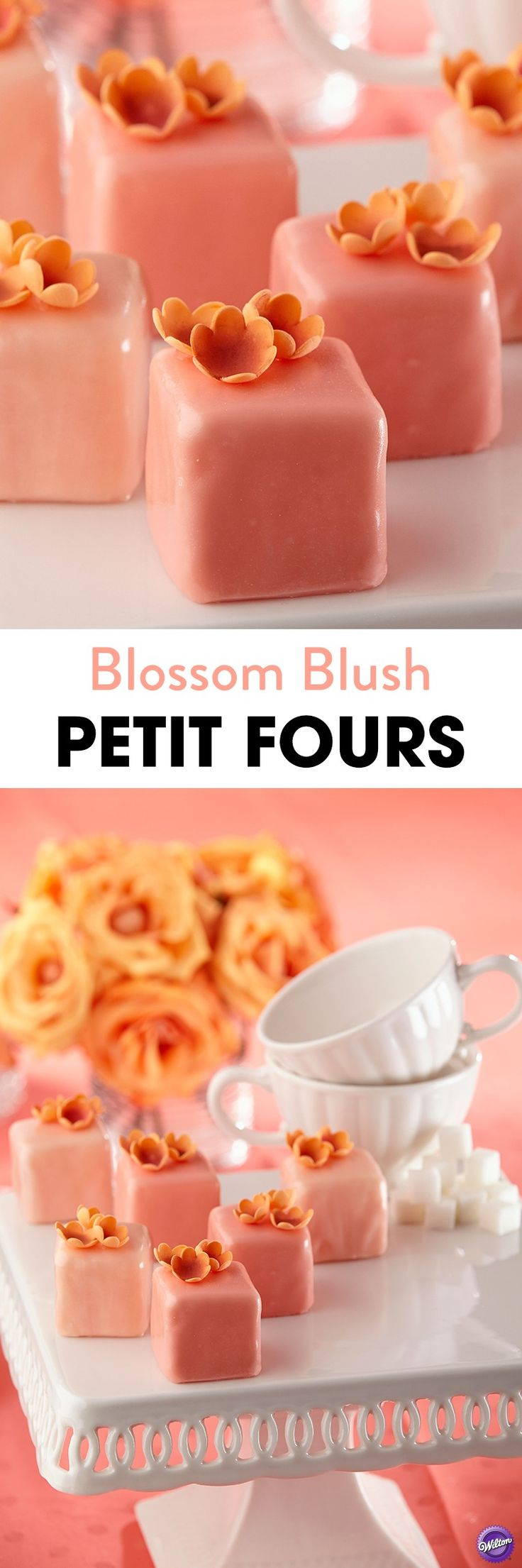 Make these cute petit fours for an afternoon tea or to celebrate special occasions lik Mother's Day, Valentine's Day or a wedding shower. Cover with luscious Candy Melts candy and top with tiny gum paste blossoms.