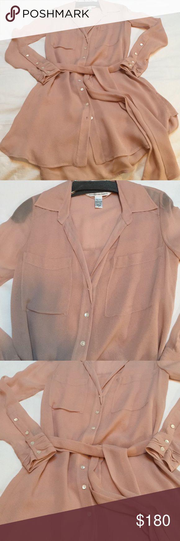 Diane von furstenberg sheer shirt dress with tie Sheer nude shirt tunic with tie Diane von Furstenberg Dresses Mini
