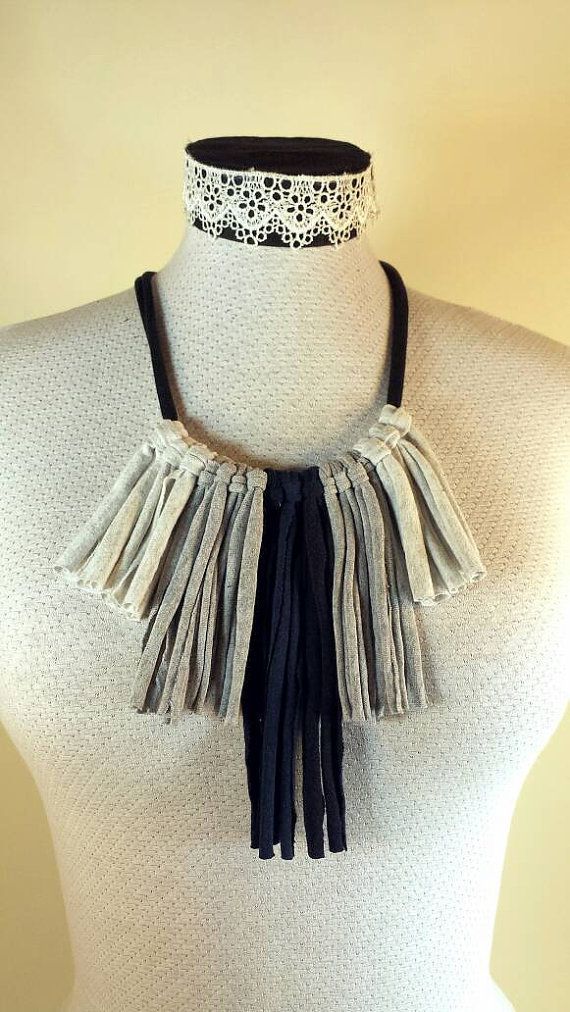 Check out this item in my Etsy shop https://www.etsy.com/ca/listing/270085609/fringe-tshit-necklace-gray-and-navy
