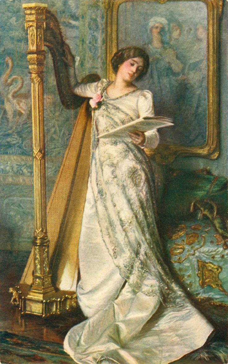 ♪ The Musical Arts ♪ music musician paintings - Moritz von Schwind | Harp Audition, ca. 1855