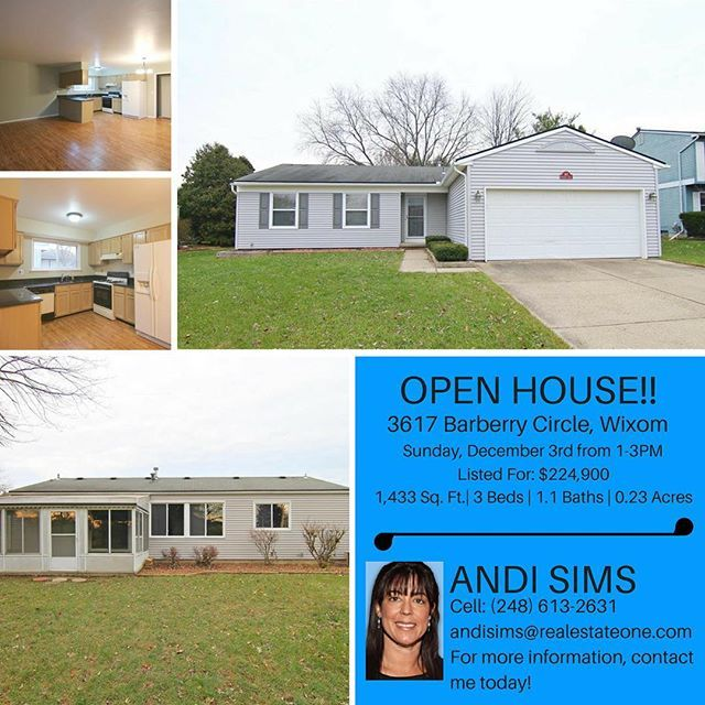 Join me for an Open House today! I will be at 3617 Barberry Circle in Wixom, 48393. Hope to see you there anytime between 1 and 3! #openhouse #openhousesundays #1to3 #wixom #wixommi #wixommichigan #48393 #3beds #1andahalfbath #ranchstylehome #realtorlife #buyingahome #lookingforahome #interestedbuyers #firsttimehomebuyer #realestateone #maxbroock #hopetoseeyouthere #realestate #callmetoday🏠🔑 #localrealtors - posted by Andi Leider Sims https://www.instagram.com/sims.andi - See more Real…