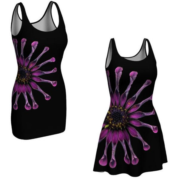 Purple Floral Dress Flared Bodycon Fitted Printed Mini Dress Flare... ($65) ❤ liked on Polyvore featuring dresses, whimzingers, short floral dresses, tight fitted dresses, flared skirts, floral fit-and-flare dresses and purple dress