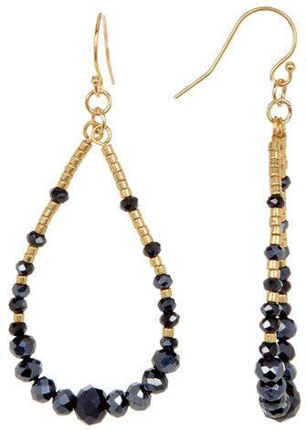 Love the black and gold - very classy!  Chan Luu Beaded Teardrop Hoop Earrings  #ad