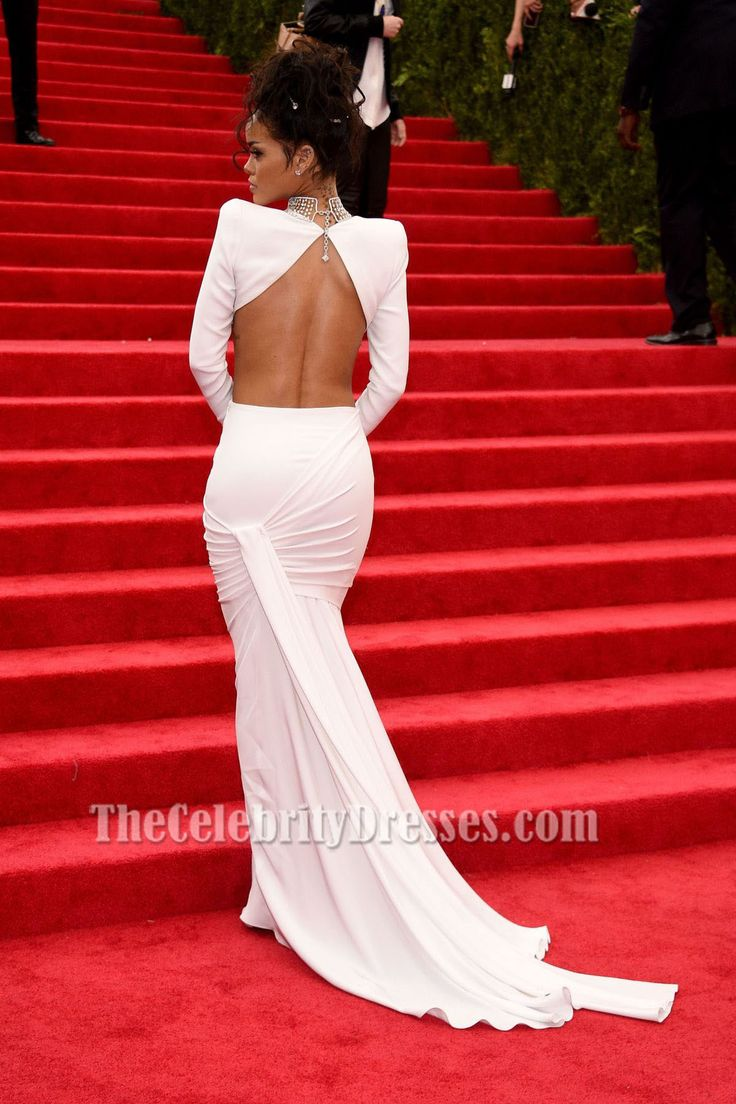 Rihanna White Long Sleeve Two Piece Evening Dress 2014 Met Gala Red Carpet ( US Size 2 ,4,6,8 and 10 in white are in stock now,these size will arrive about a week.)