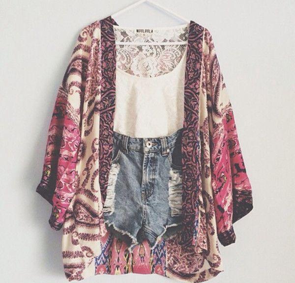 Shorts: denim top kimono boho ripped coat tank top jacket kimono, patterned, pink, creme sweater