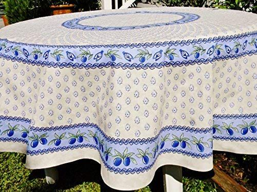 Le Cluny Monaco Creamy White French Provence 100 Percent Coated Cotton Tablecloth 70 Inches Round Review Cotton Tablecloths Table Cloth French Country Collections