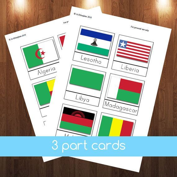 This first PDF file contains 9 pages of Montessori style 3-part cards, that is 53 different cards with the African flag and the name of the country. This 2nd PDF file contains 2 pages of flags of Africa used with the Montessori puzzle maps. It also includes detailed instructions of how to present the cards plus some extension ideas. Simply print and cut and away you go. You may want to laminate your cards so that they last a bit longer. You may print out as many copies as you like for…