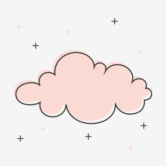 Pink Cute Cloud Clipart Vector And Png Doodle Frames Typography Hand Drawn Cartoon Clouds