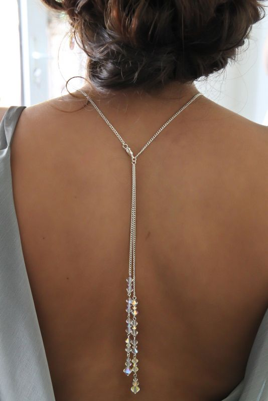 Bridal Backdrop Necklace with Lariat Handmade with Swarovski Crystals Prom Gala
