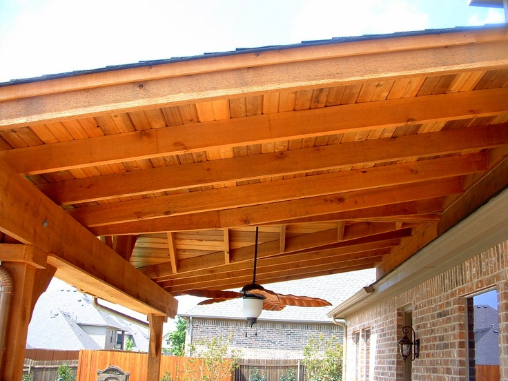 Wood Patio Covering With Fan