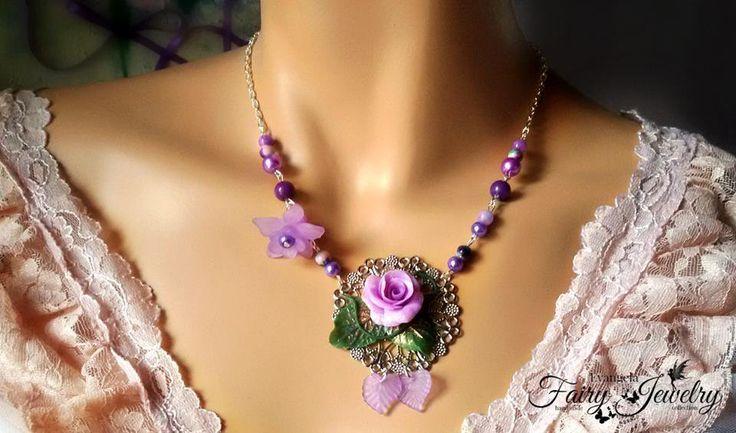 Collana rosa fiore fimo pasta polimerica lilla viola filigrana fatta a mano , by Evangela Fairy Jewelry, 16,00 € su misshobby.com