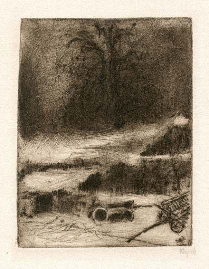 Bohuslav Reynek Lípa se stodolou / Lime tree with Grange suchá jehla / dry point 18,1 x 13,7 cm, 1962, opus G 506