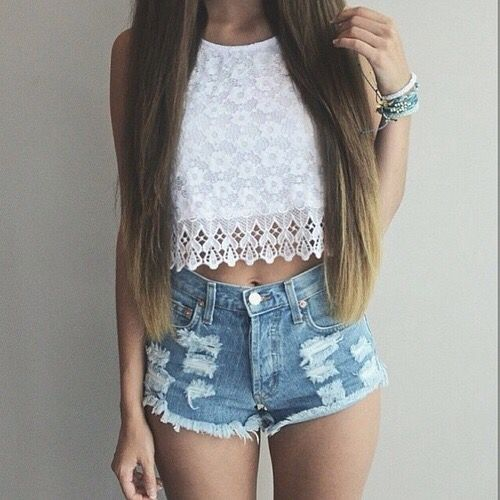 White lace top and denim shorts. Summer outfit