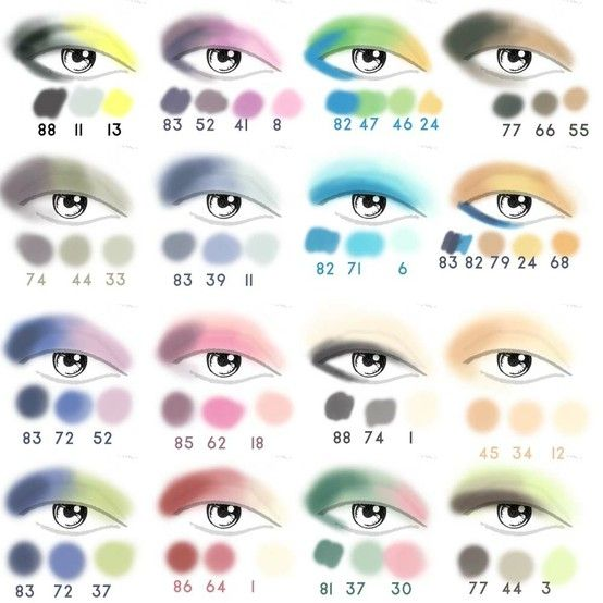Eye shadow color combinations palette. Pretty neat.... Ideas at the very least.