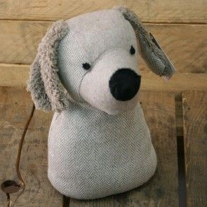 Grey Herringbone Dog Doorstop ~ Decorative Dog Door Stop