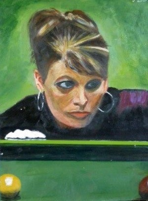 Michaela Tabb, first female professional snooker referee, acrylic on paper