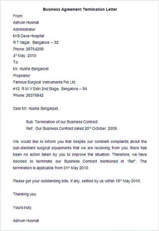 Sample Termination Letter For Poor Performance template