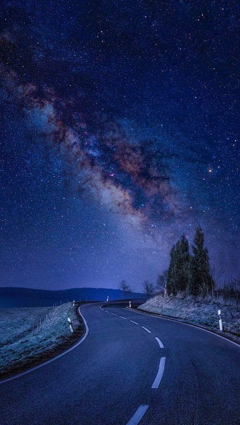 Starry Night Road Galaxy Stars iPhone Wallpaper Night